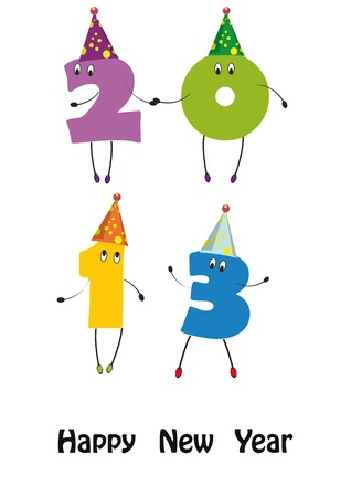 Cute card on New Year 2013 with funny numbers Stock Vector - 14594176