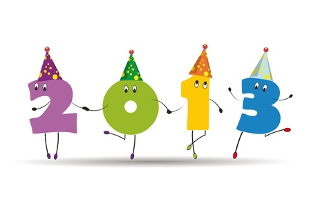 Cute card on New Year 2013 with funny numbers Stock Vector - 14594175