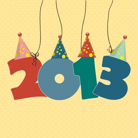 Cute card on New Year 2013 with funny numbers Vector