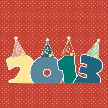 Cute card on New Year 2013 with retro numbers Vector