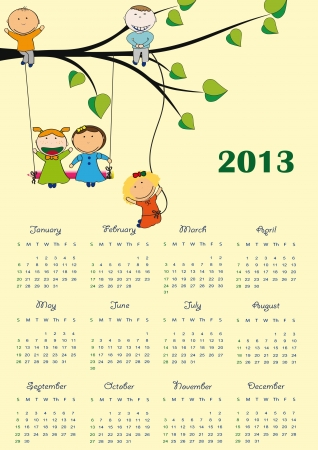 Cute calendar on New Year 2013 for kids Vector