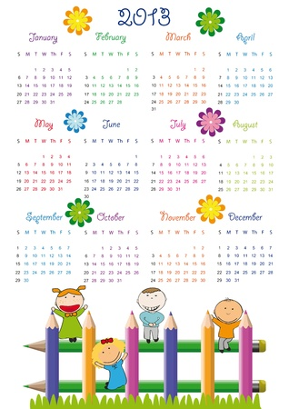 Cute calendar on New Year 2013 for kids Stock Vector - 14719803