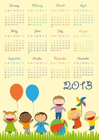 Cute calendar on New Year 2013 for kids Illustration