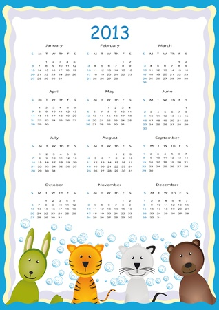 Cute calendar on New Year 2013 for kids Stock Vector - 14719811