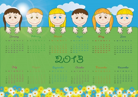 Cute calendar on New Year 2013 for kids Stock Vector - 14719829