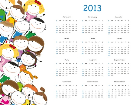 Cute calendar on New Year 2013 for kids Illustration