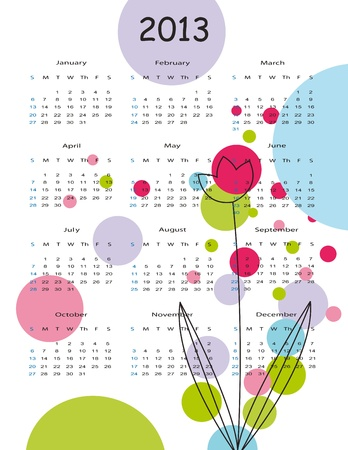 Cute and colorful calendar on New Year 2013 Stock Vector - 14719780