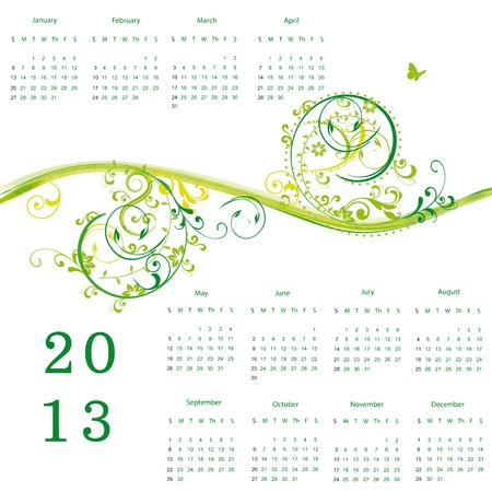 oat field: Cute calendar on New Year 2013 with flowers Illustration