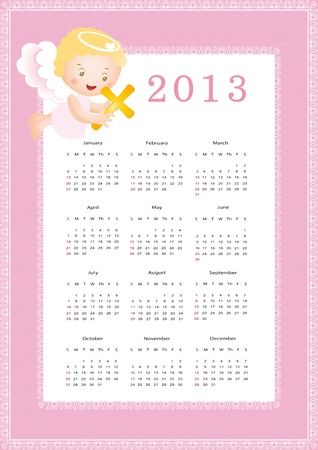 Cute calendar on New Year 2013 for kids Stock Vector - 14719856