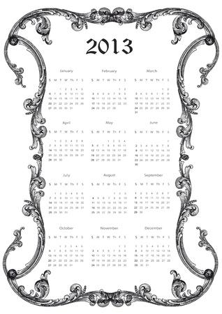 Calendario Carino Nuovo Anno 2013 cornice antica