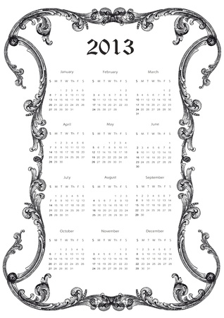 Cute calendar on New Year 2013 antique frame Vector