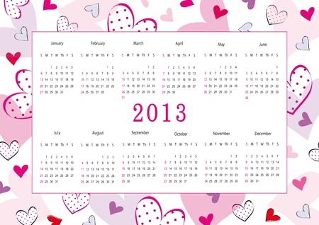 Cute calendar on New Year 2013 for love Vector