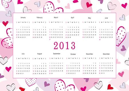 Cute calendar on New Year 2013 for love Ilustrace