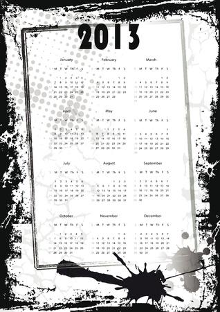 Calendrier mignon et abstraite du Nouvel An 2013