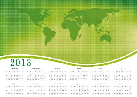 Cute calendar on New Year 2013 with ecology world Vector