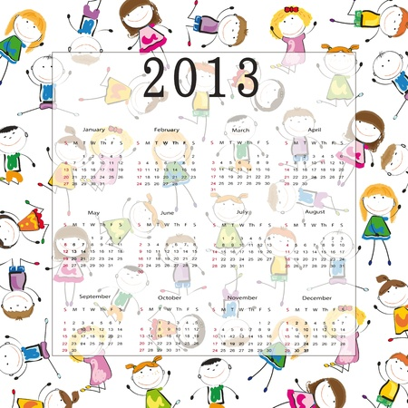 Cute calendar on New Year 2013 for kids Stock Vector - 14719857