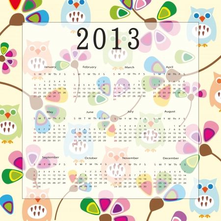 Cute and colorful calendar on New Year 2013 Stock Vector - 14719801