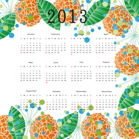 Cute calendar on New Year 2013 with flowers Vector