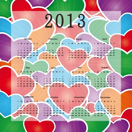 Cute calendar on New Year 2013 with hearts Vector