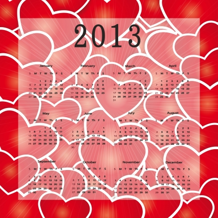 Cute calendar on New Year 2013 with hearts Stock Vector - 14719845