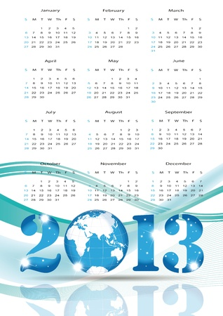 Cute calendar on New Year 2013 with globe Stock Vector - 14719848