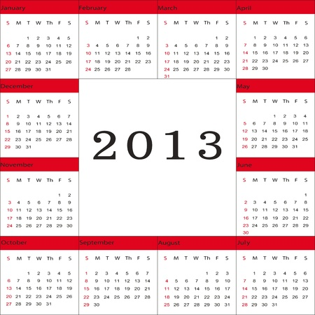 Cute and simple calendar on New Year 2013 Stock Vector - 14719774