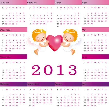 Cute calendar on New Year 2013 for kids Stock Vector - 14719783