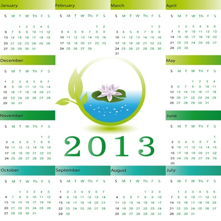 Cute and ecology calendar on New Year 2013 Vector