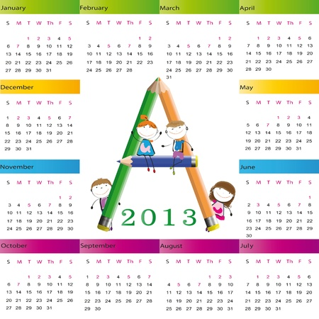 Cute calendar on New Year 2013 for kids Stock Vector - 14719814