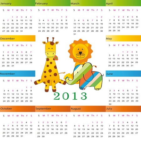 Cute calendar on New Year 2013 for kids Stock Vector - 14719781