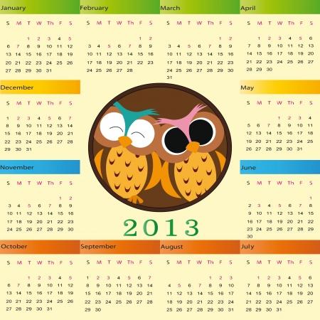 Cute calendar on New Year 2013 for kids Vector