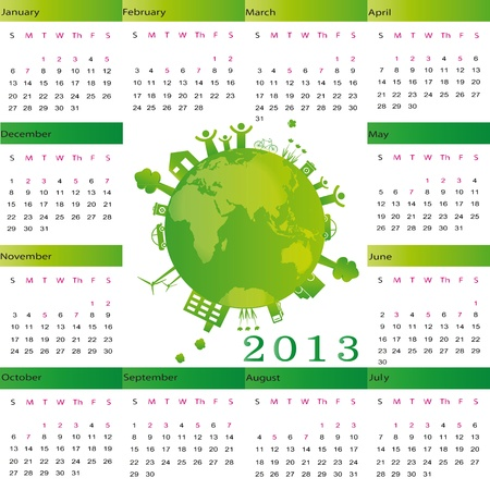 Cute calendar on New Year 2013 with globe Vector