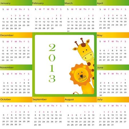 Cute calendar on New Year 2013 for kids Stock Vector - 14719779