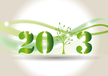 Cute card on New Year 2013 with green tree Stock Vector - 14990460
