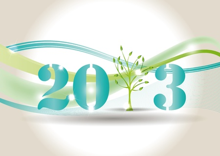 Cute card on New Year 2013 with green tree Stock Vector - 14990471
