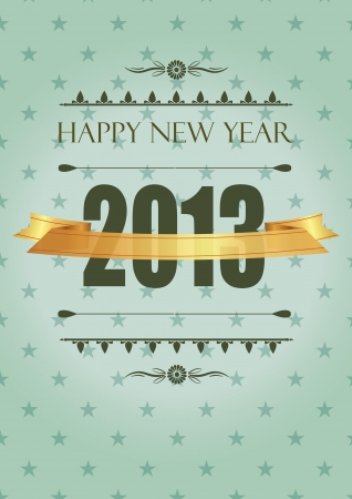 Cute and elegant card in vintage style on New Year 2013 Vector