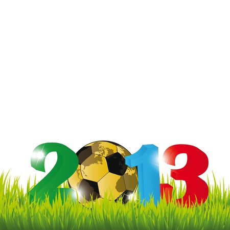 Cooncept card on New Year 2013 with football Stock Vector - 14990457
