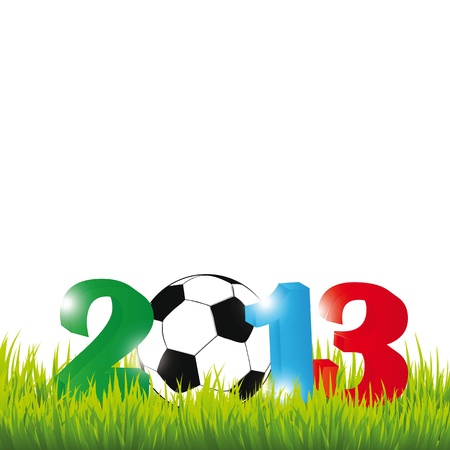 Cooncept card on New Year 2013 with football Illustration
