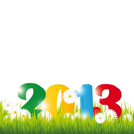 Cooncept card on New Year 2013 with flowers