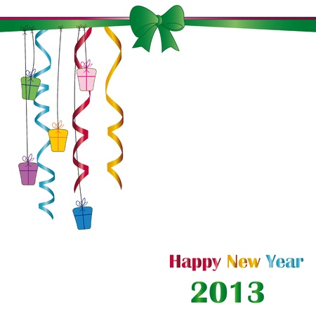 Cute and elegant card on New Year 2013 with ribbons Stock Vector - 14990443