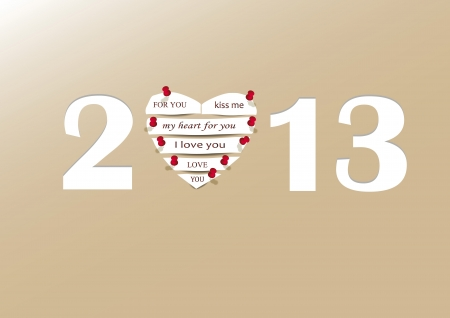 Cooncept card on New Year 2013 with heart Stock Vector - 14990453