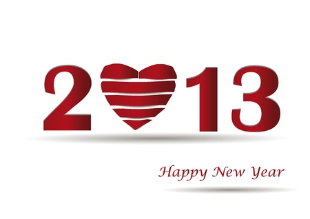 Cooncept card on New Year 2013 with heart Stock Vector - 14990445