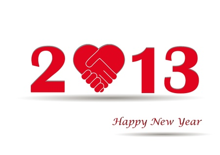 Cooncept card on New Year 2013 with hands Stock Vector - 14990462
