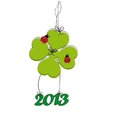 Cooncept card on New Year 2013 with clover Stock Vector - 14990446