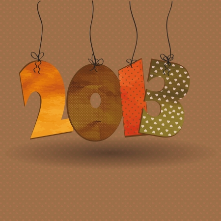 Cute card on New Year 2013 with retro numbers Ilustrace