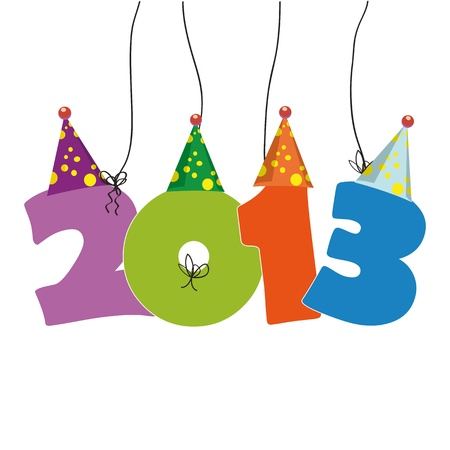 Cute card on New Year 2013 with funny numbers Stock Vector - 14990444