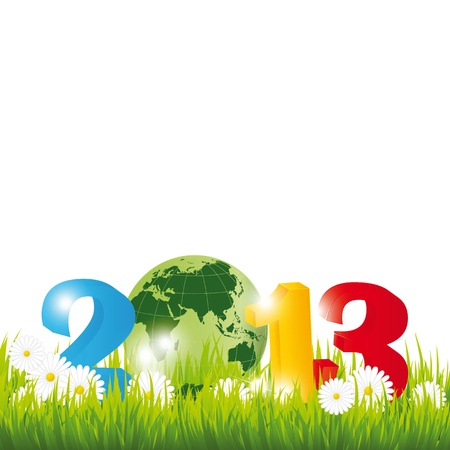 Cute card on New Year 2013 with globe