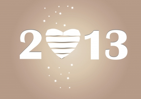 Cooncept card on New Year 2013 with heart Stock Vector - 15017732