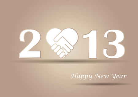 Cooncept card on New Year 2013 with hands Stock Vector - 15017730