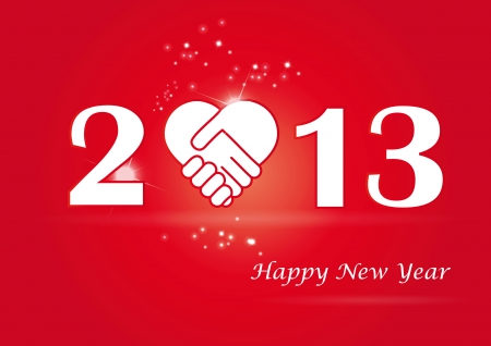 Cooncept card on New Year 2013 with hands Stock Vector - 15017733